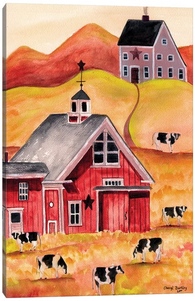 Cow Folk Art Barn Canvas Art Print
