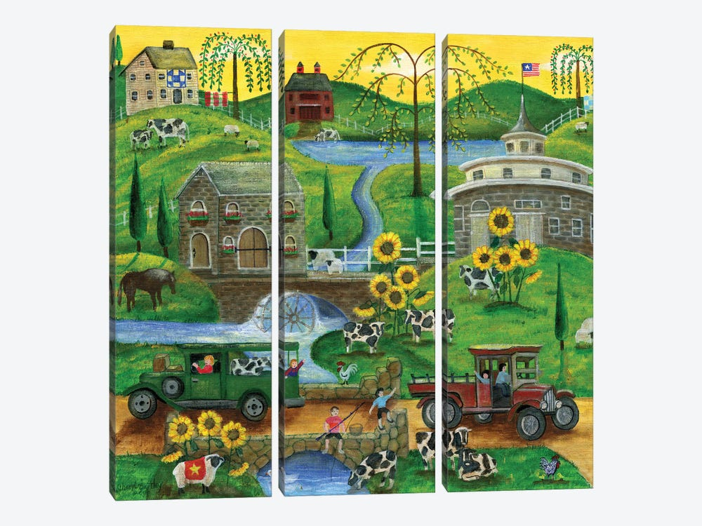 Cows May Come And Cows My Go by Cheryl Bartley 3-piece Canvas Artwork