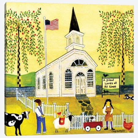 A Friend Loves At All Times Church Canvas Print #CBT8} by Cheryl Bartley Canvas Art