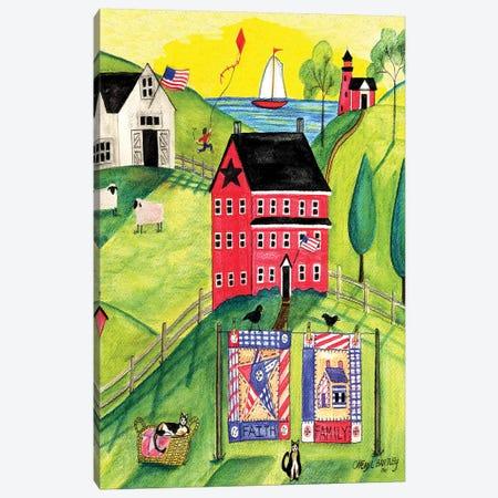 Faith Family Red Farmhouse Canvas Print #CBT92} by Cheryl Bartley Canvas Art Print