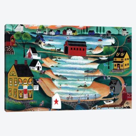 Folk Art Angel Over Falls Village Canvas Print #CBT96} by Cheryl Bartley Canvas Art
