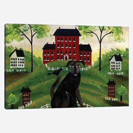 Folk Art House With Black Dog & Crow Canvas Print #CBT98} by Cheryl Bartley Art Print
