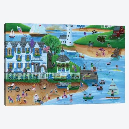 Folk Art Summertime Fun at Seaport Inn Canvas Print #CBT99} by Cheryl Bartley Canvas Print
