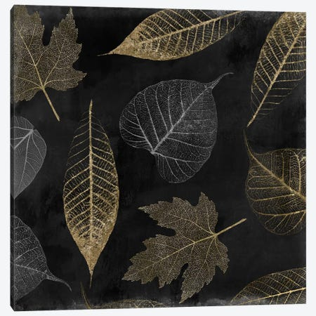 Autumn Gold Black Background Canvas Print #CBY118} by Color Bakery Canvas Artwork