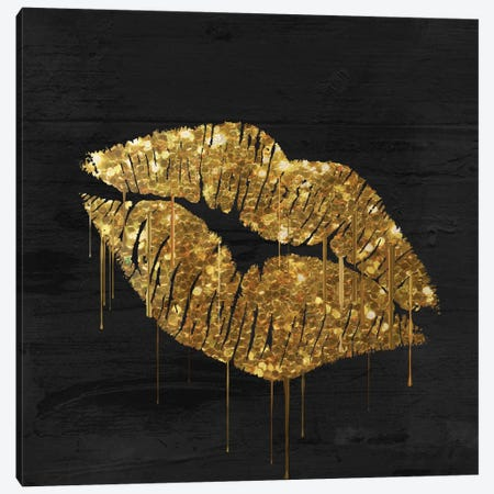 Golden Lips Canvas Print #CBY11} by Color Bakery Canvas Wall Art