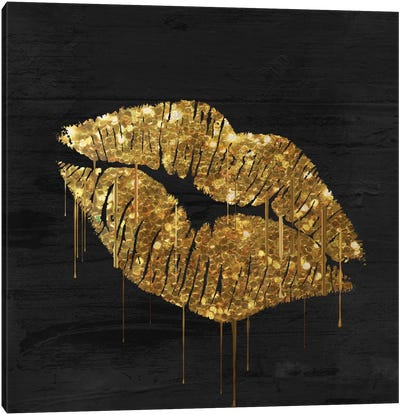 Golden Lips Canvas Art Print