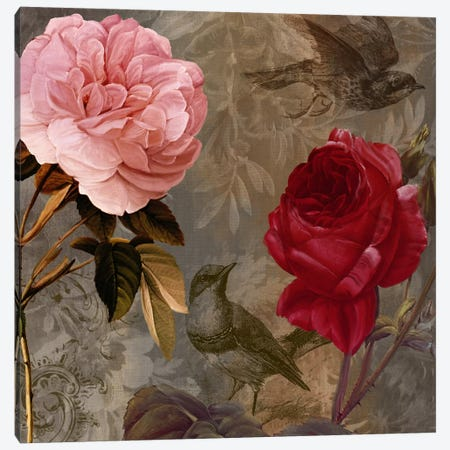 Bird And Roses I 3-Piece Canvas #CBY154} by Color Bakery Canvas Art Print
