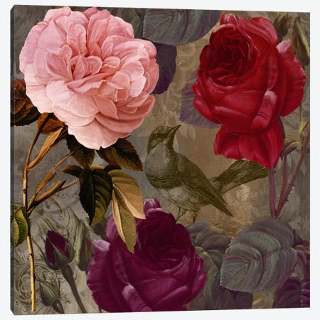 Bird And Roses II Canvas Print #CBY155} by Color Bakery Art Print