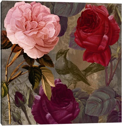 Bird And Roses II Canvas Art Print