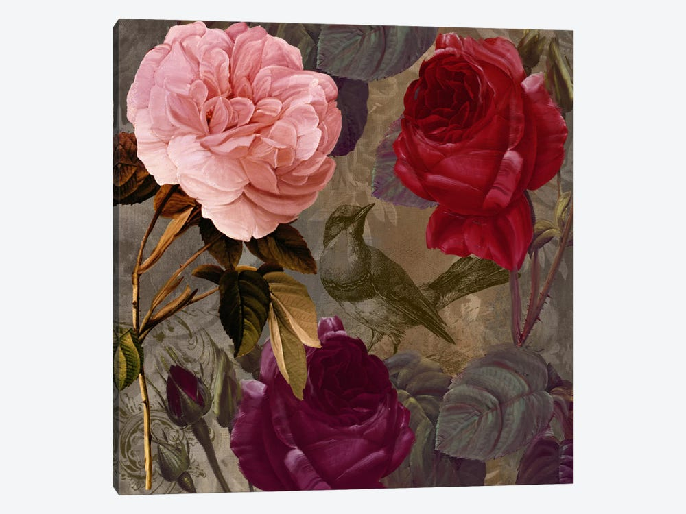 Bird And Roses II by Color Bakery 1-piece Canvas Print