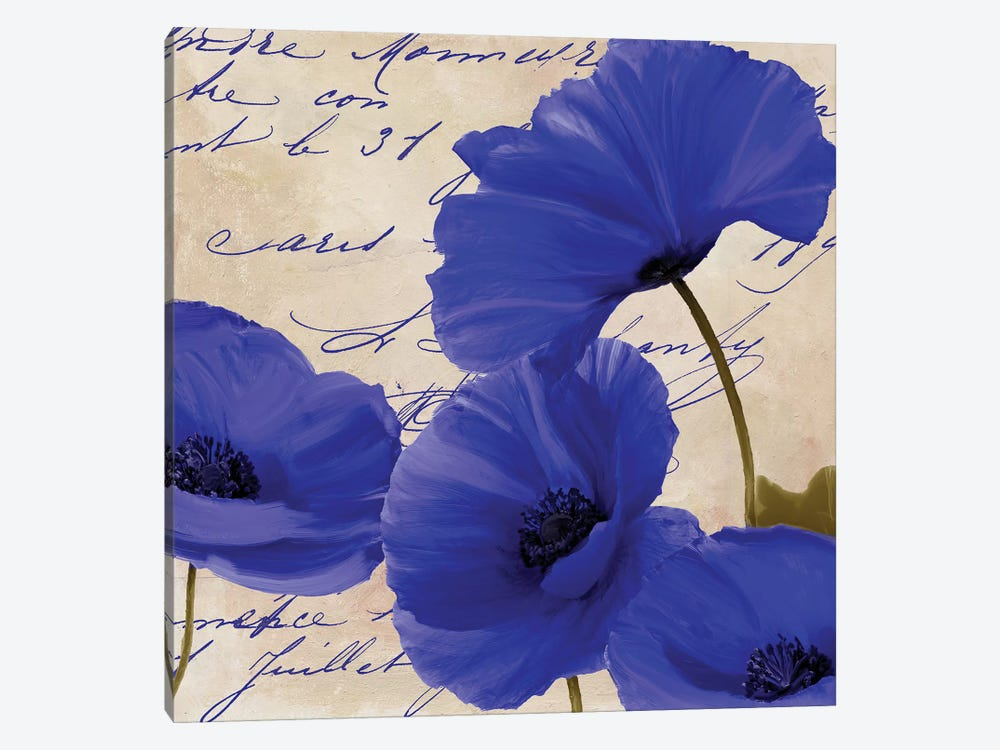 Coquelicots Bleues I by Color Bakery 1-piece Canvas Art Print