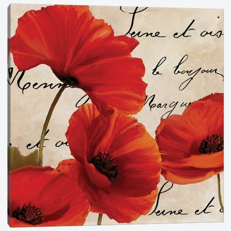 Coquelicots Rouge I Canvas Print #CBY284} by Color Bakery Canvas Art Print