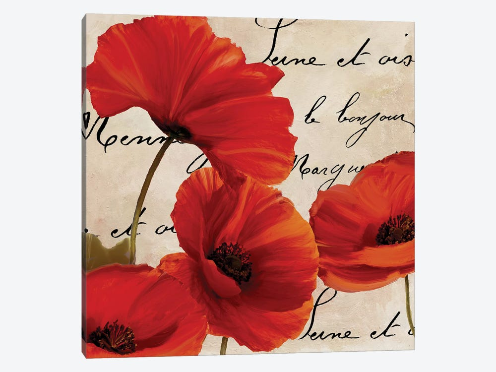 Coquelicots Rouge I by Color Bakery 1-piece Canvas Art Print