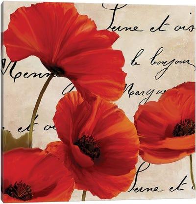 Coquelicots Rouge I Canvas Art Print