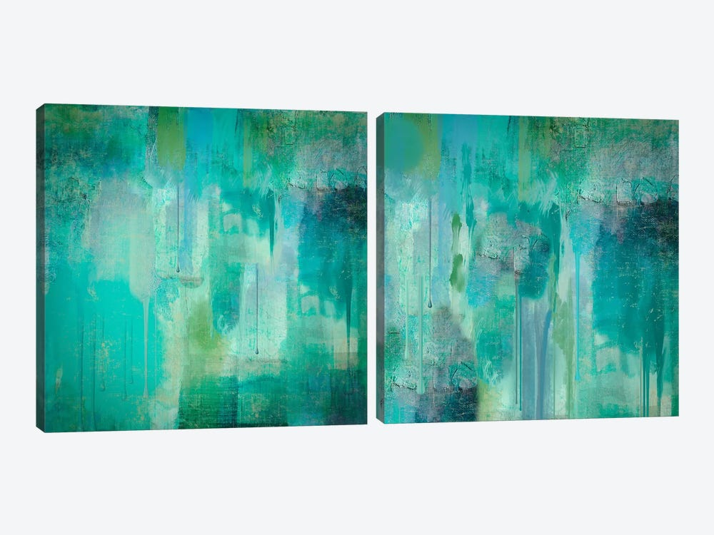 Aqua Circumstance Diptych by Color Bakery 2-piece Canvas Art Print