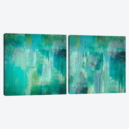 Aqua Circumstance Diptych Canvas Print Set #CBY2HSET012} by Color Bakery Canvas Art