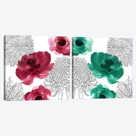 Cinnabar Diptych Canvas Print Set #CBY2HSET016} by Color Bakery Canvas Art Print