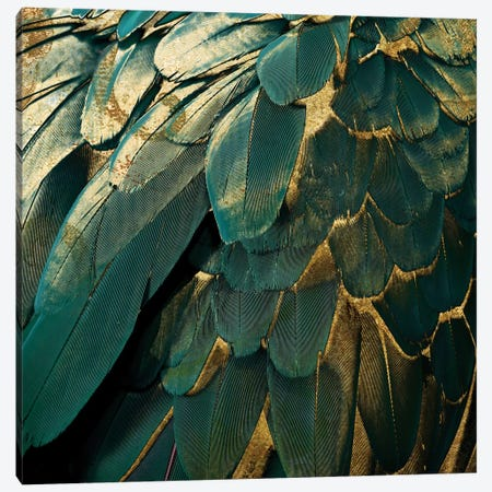 Feather Glitter Canvas Print #CBY367} by Color Bakery Canvas Wall Art