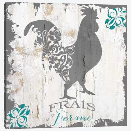 Ferme Teal I Canvas Print #CBY376} by Color Bakery Art Print