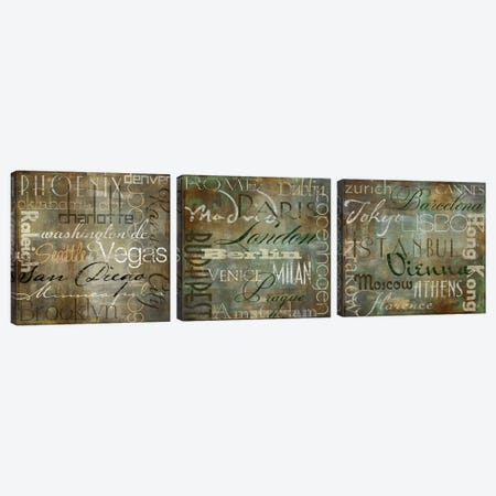Cities Of The World Triptych Canvas Print Set #CBY3HSET012} by Color Bakery Canvas Wall Art