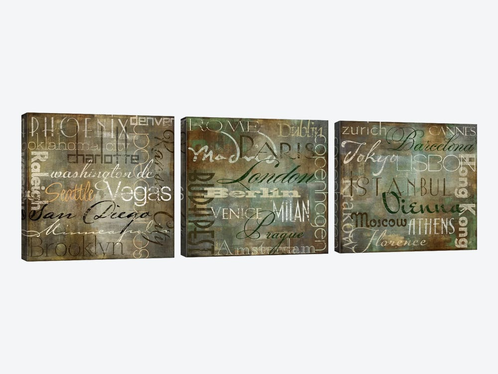 Cities Of The World Triptych by Color Bakery 3-piece Canvas Wall Art