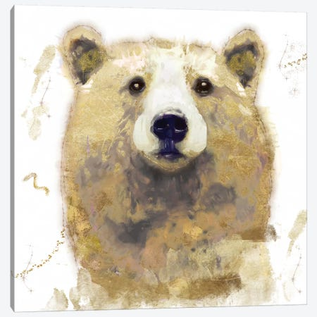 Golden Forest - Bear Canvas Print #CBY473} by Color Bakery Canvas Print
