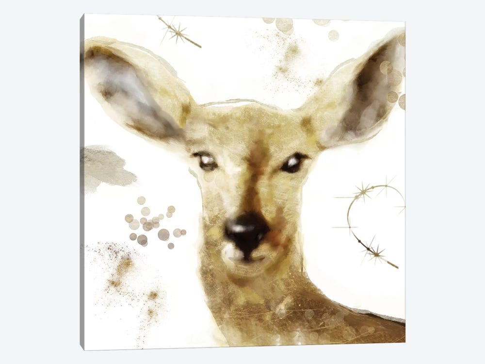 Golden Forest - Deer by Color Bakery 1-piece Canvas Wall Art
