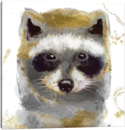 Golden Forest - Raccoon Canvas Art Print