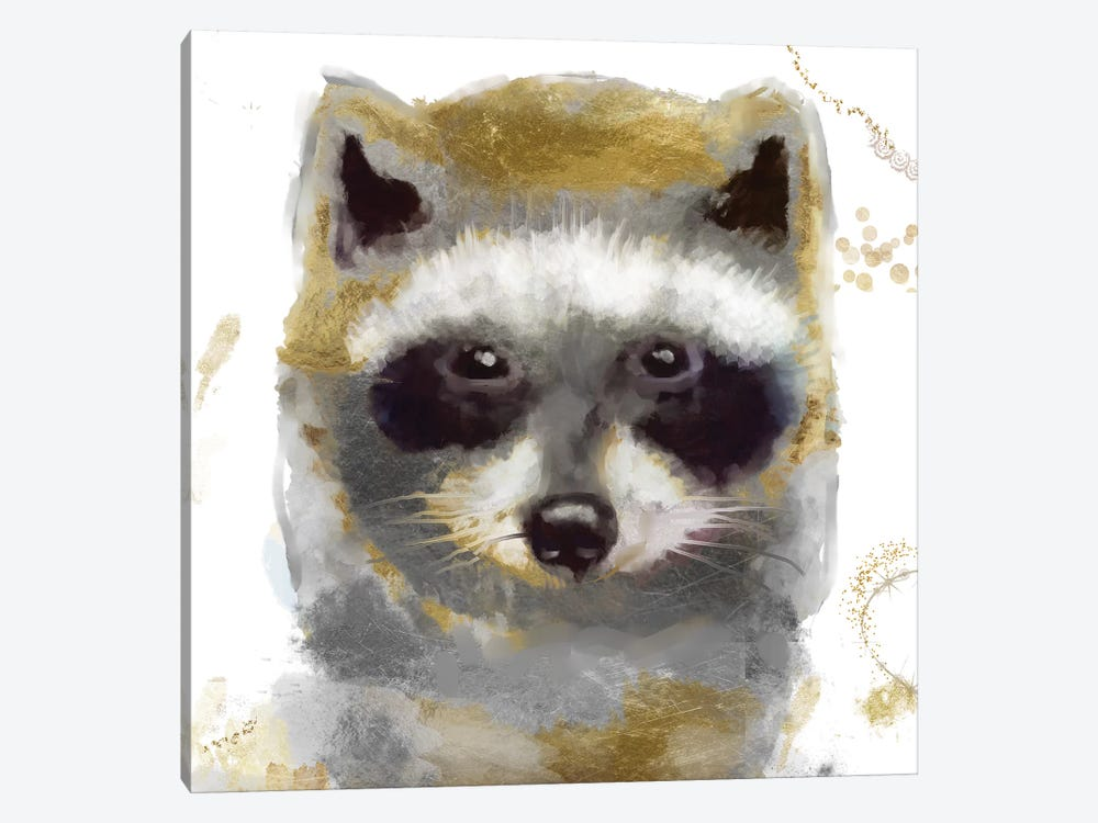 Golden Forest - Raccoon by Color Bakery 1-piece Canvas Art