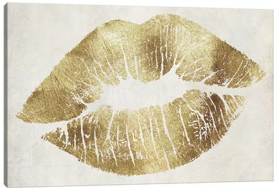Hollywood Kiss Gold Canvas Art Print