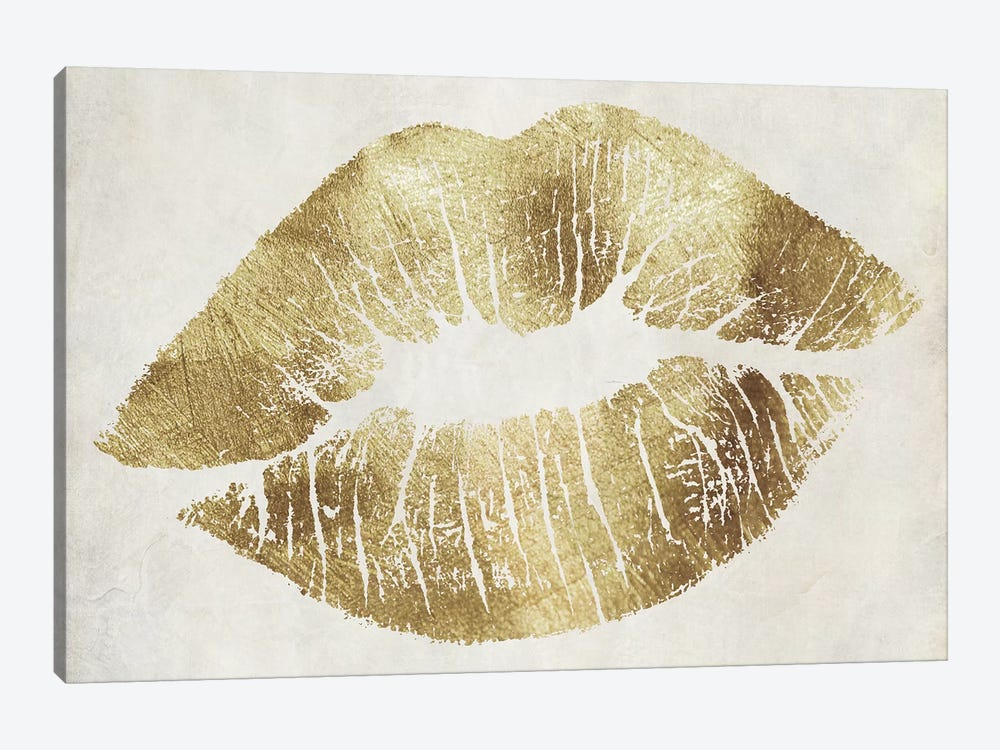 Hollywood Kiss Gold by Color Bakery 1-piece Canvas Art Print