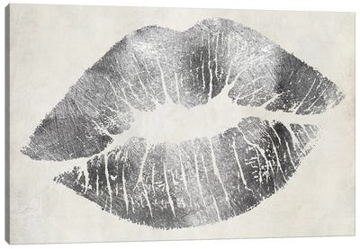 Hollywood Kiss Silver Canvas Art Print