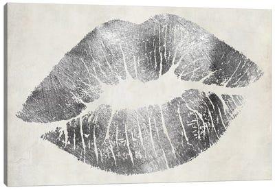 Hollywood Kiss Silver Canvas Art Print