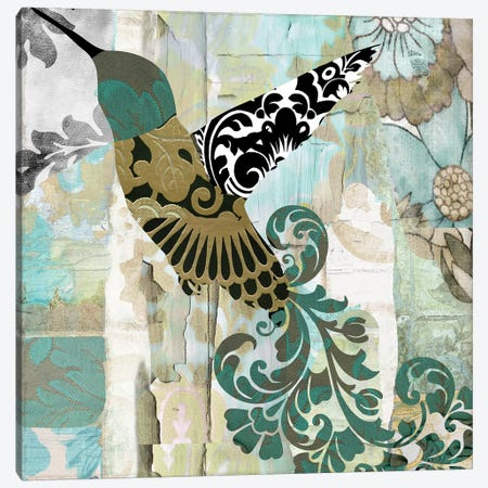 Hummingbird Batik II Canvas Print #CBY503} by Color Bakery Canvas Print