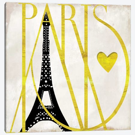 I Love Paris Canvas Print #CBY511} by Color Bakery Canvas Art