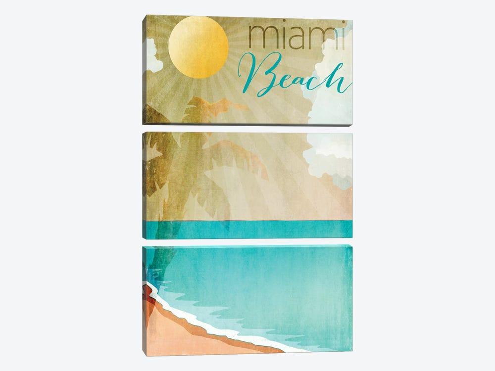 Miami Beach by Color Bakery 3-piece Canvas Print