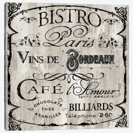 Paris Bistro III Canvas Print #CBY716} by Color Bakery Canvas Print