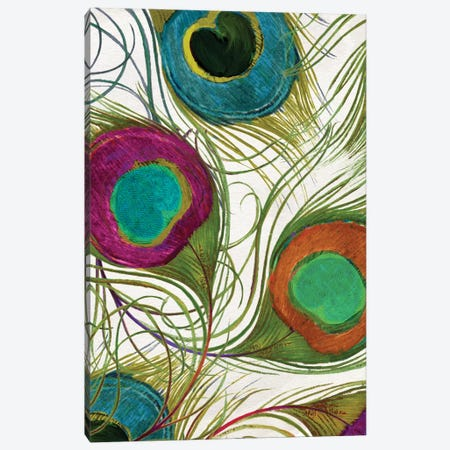 Peacock Feathers II 3-Piece Canvas #CBY755} by Color Bakery Canvas Print