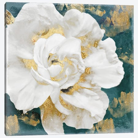 Petals Impasto (Gold) Canvas Print #CBY770} by Color Bakery Canvas Art