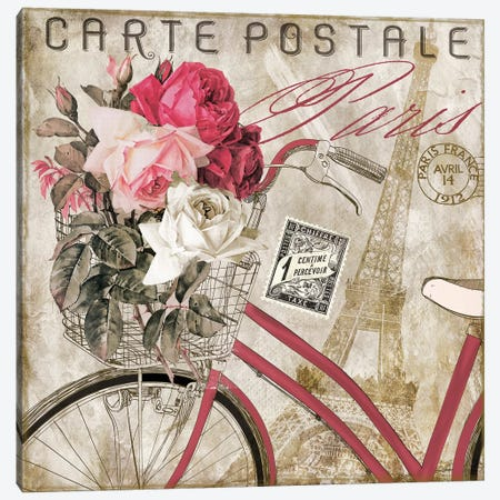Postale Paris I Canvas Print #CBY801} by Color Bakery Canvas Wall Art