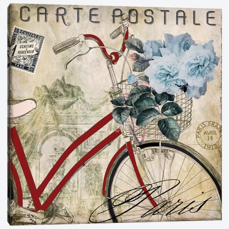 Postale Paris II Canvas Print #CBY802} by Color Bakery Canvas Artwork