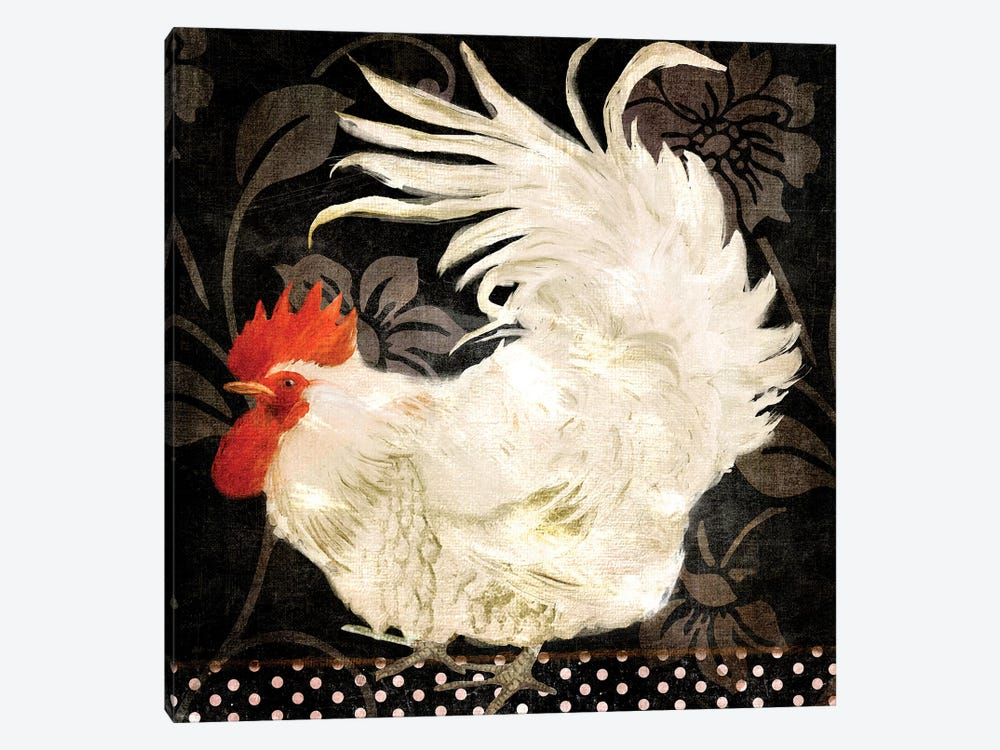 Rooster Damask I 1-piece Canvas Artwork