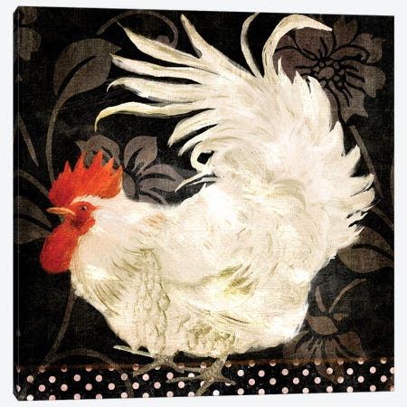 Rooster Damask I Canvas Print #CBY829} by Color Bakery Canvas Art