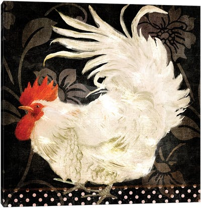 Rooster Damask I Canvas Art Print