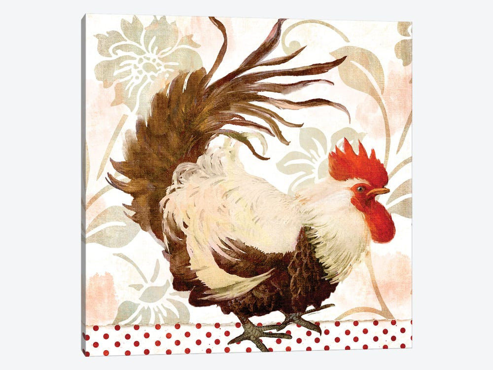 Rooster Damask II by Color Bakery 1-piece Canvas Artwork