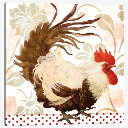 Rooster Damask II Canvas Print #CBY830} by Color Bakery Canvas Art Print