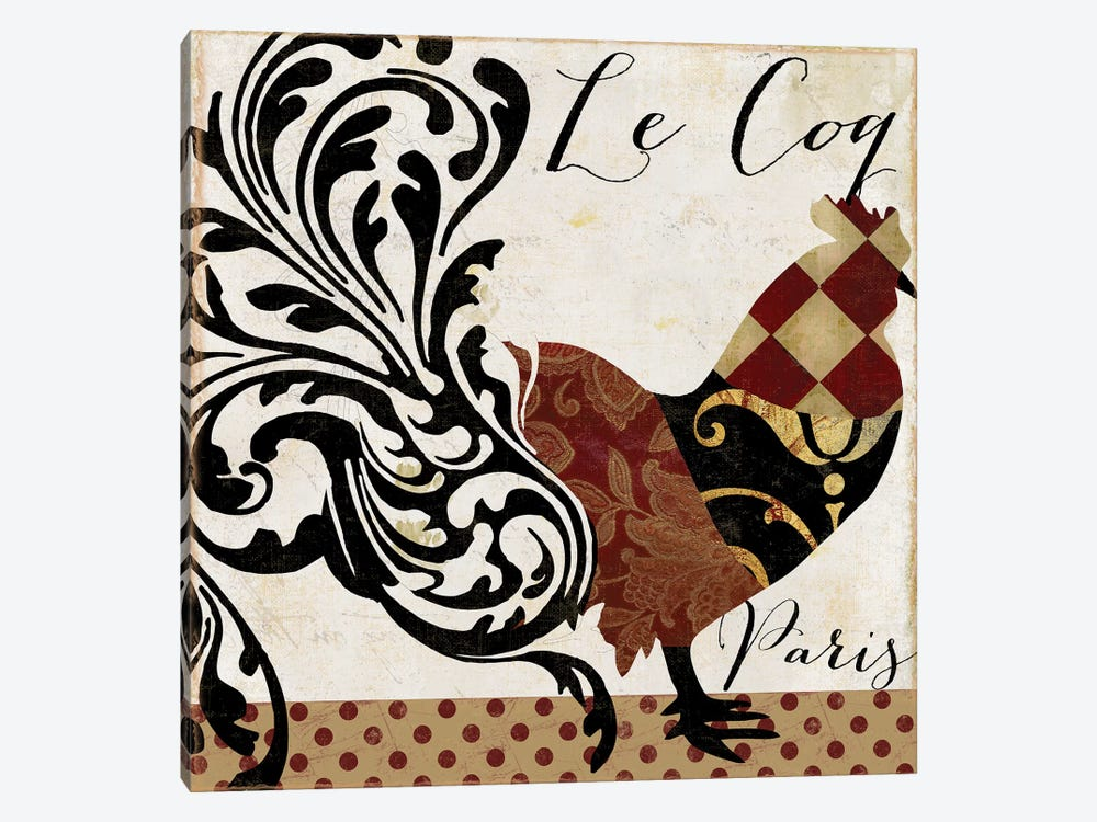 Roosters Of Paris II by Color Bakery 1-piece Canvas Artwork