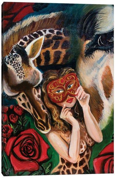 Giraffe Girl Canvas Art Print