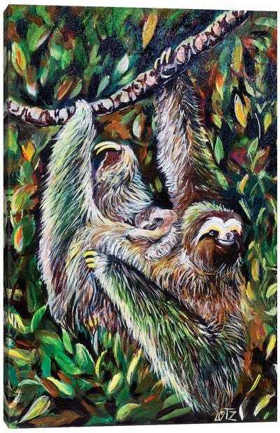 Sloth Mother And Baby Canvas Art Print