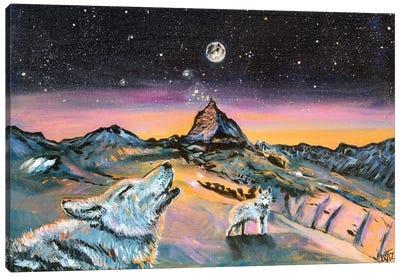 Wolf Howling At Moon Canvas Art Print